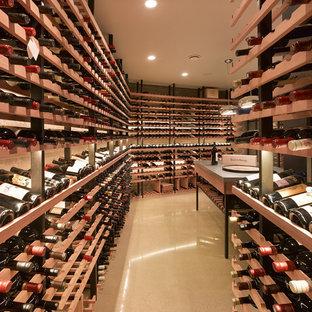 Cette image montre une très grand cave à vin minimaliste avec béton au sol, des casiers et un sol marron.