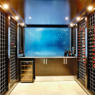 Cette image montre une grand cave à vin design avec des casiers.