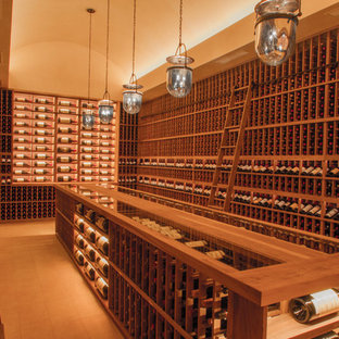 Expansive traditional wine cellar in San Francisco with ceramic flooring and storage racks.