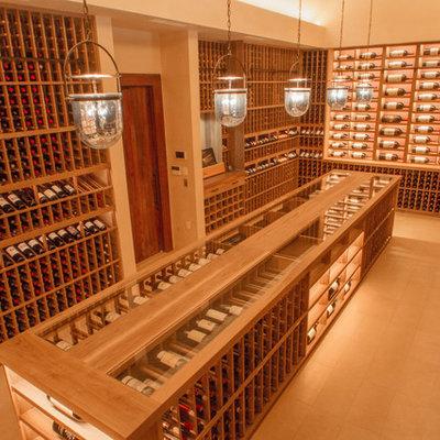 Wine cellar - huge craftsman ceramic tile wine cellar idea in San Francisco with storage racks