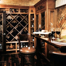Traditional Wine Cellar by Reaume Construction & Design