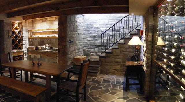 Basement lower level garage wine cellar for Garage wine cellar