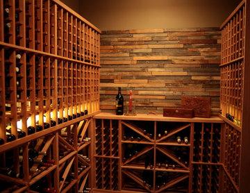 Redwood Wine Racks with Custom Counter Area