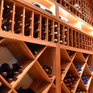This is an example of a contemporary wine cellar in Orange County.