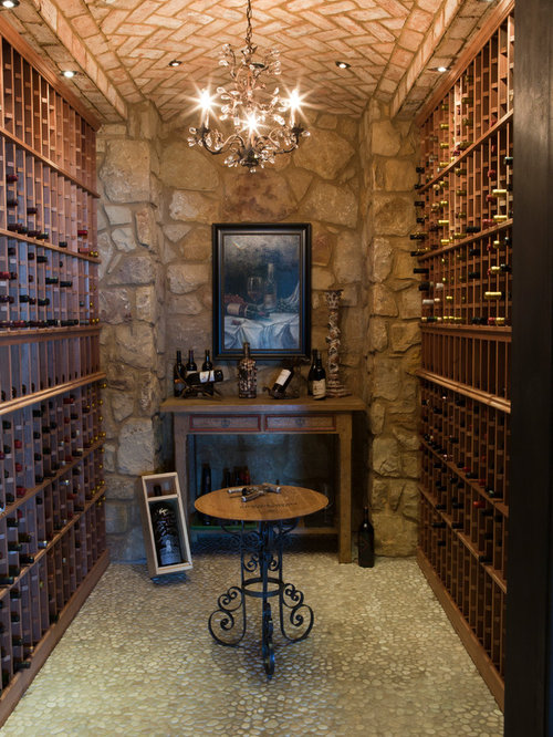 Mediterranean wine cellar design ideas pictures remodel for Wine room ideas