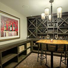 Transitional Wine Cellar by Rockwood Custom Homes