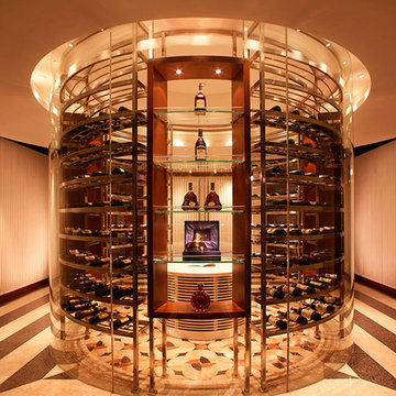 Rose Gold Satin glass door Rounded Stainless Steel Wine Cellar / Wine Cabinet