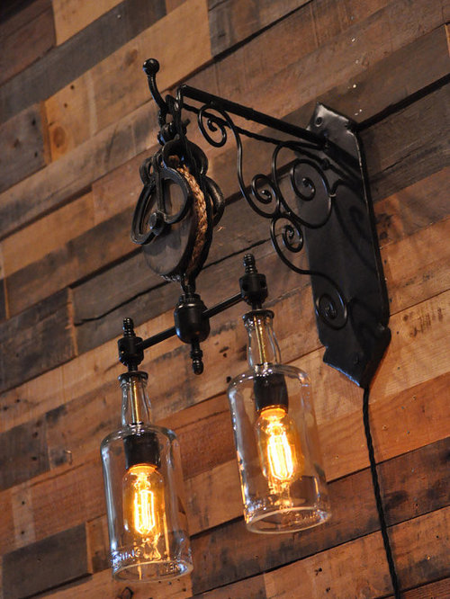 Rustic Wall Lights Nz : Rustic Caged Sconce Wine Cellar Design Ideas, Remodels & Photos
