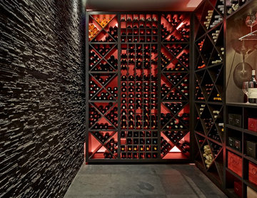Rustic Wandsworth Wine Cellar with Slate Wall