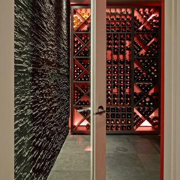 Rustic Wandsworth Wine Cellar with Slate Wall