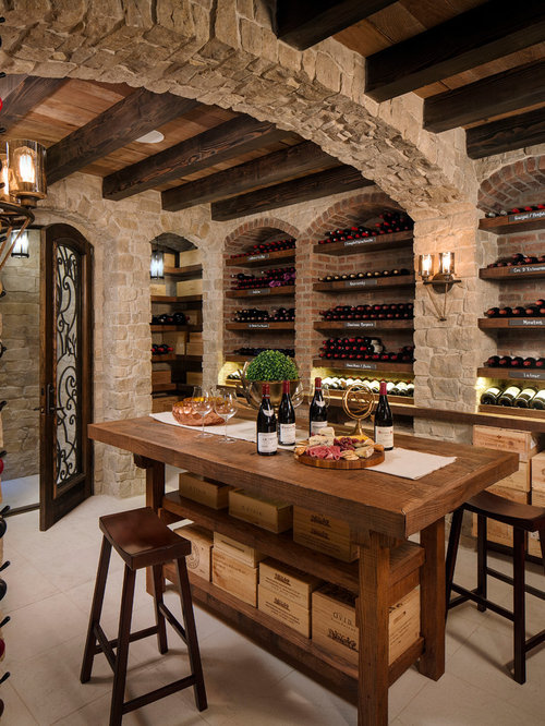 Mediterranean wine cellar design ideas remodels photos for Wine cellar plans