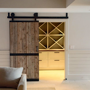 Rustic wood barn door to wine cellar