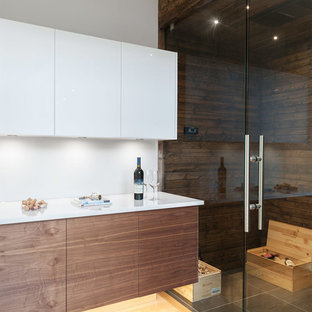Photo of a medium sized scandinavian wine cellar in Other with ceramic flooring and grey floors.