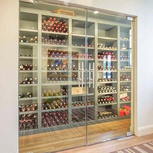 Ejemplo de bodega minimalista, de tamaño medio, con suelo de madera en tonos medios, botelleros y suelo beige