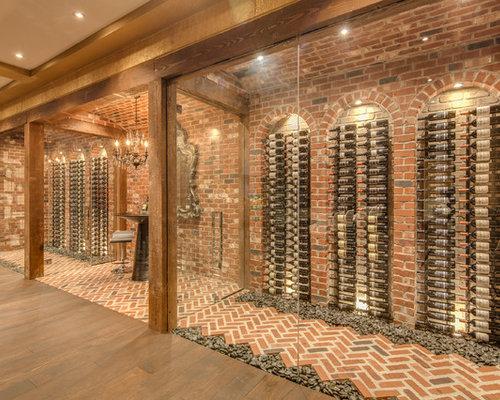 Rustic brick floor wine cellar ideas design photos houzz for Wine cellar flooring options