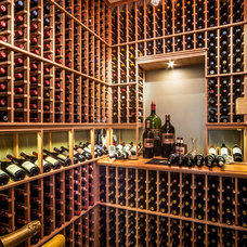 Contemporary Wine Cellar by Sun Forest Construction