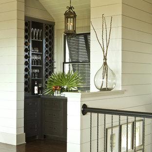 Inspiration för en mellanstor tropisk vinkällare, med mörkt trägolv, vinhyllor och brunt golv