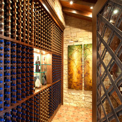 mediterranean wine cellar by JAUREGUI Architecture Interiors Construction