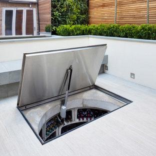 Foto di una cantina minimal di medie dimensioni con pavimento in cemento e rastrelliere portabottiglie