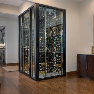 Cette photo montre une petit cave à vin moderne avec un sol en marbre et un sol multicolore.