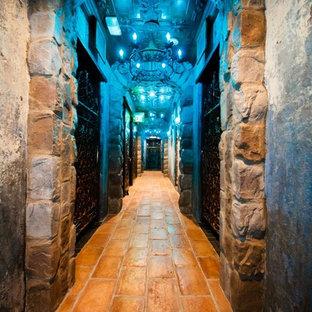 ニューヨークの大きいエクレクティックスタイルのおしゃれなワインセラー (テラコッタタイルの床、ディスプレイラック) の写真