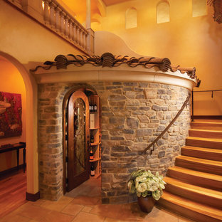 This is an example of a mediterranean wine cellar in San Diego.