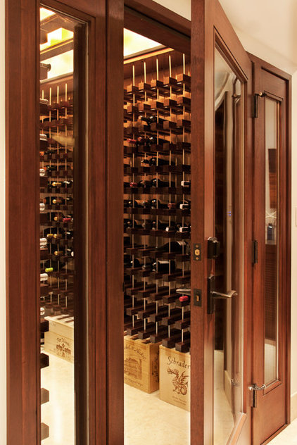 Transitional Wine Cellar by About:Space, LLC