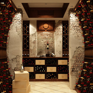 Photo of a classic wine cellar in New York with storage racks.