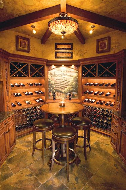 Mediterranean Wine Cellar by Toebben Builders