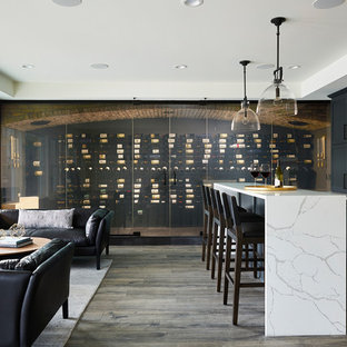 Photo of a large traditional wine cellar in Minneapolis with vinyl flooring, brown floors and storage racks.