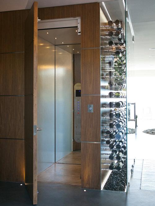 Translucent Glass Garage Door Wine Cellar Design Ideas