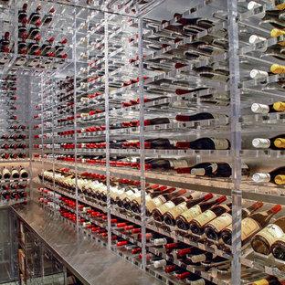 Diseño de bodega moderna, grande, con suelo de linóleo, botelleros y suelo blanco
