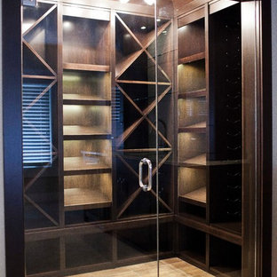 This is an example of a contemporary wine cellar in Calgary.