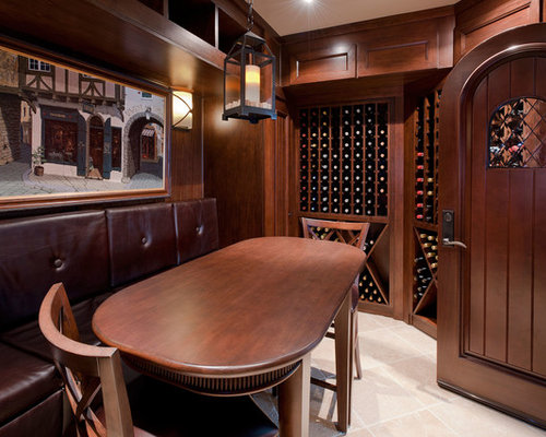 Inspiration For A Timeless Beige Floor Wine Cellar Remodel In Chicago With  Storage Racks