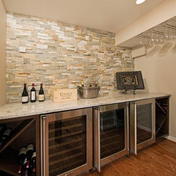Transitional Basement Remodel: Family, Guest Bed, Bath, Wine Bar & Media Room