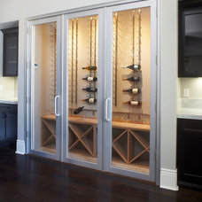 Transitional Wine Cellar by Fautt Homes