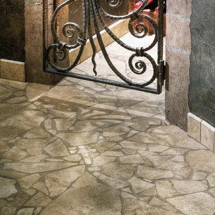 オマハの中サイズのエクレクティックスタイルのおしゃれなワインセラー (トラバーチンの床、ベージュの床) の写真