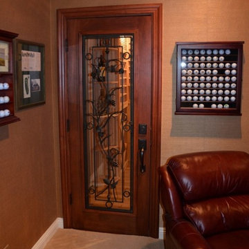 Tuscany-Style Alder Custom Wine Cellar Door Orange County
