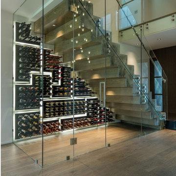 Under Stair Mosaic PEG System Wine Racking