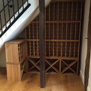 Under stairs wine racking in a private Hertfordshire home, racks & cubes in oak