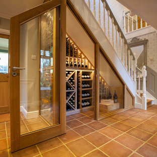 Wine Cellar Small Traditional Terra Cotta Floor And Orange Idea In