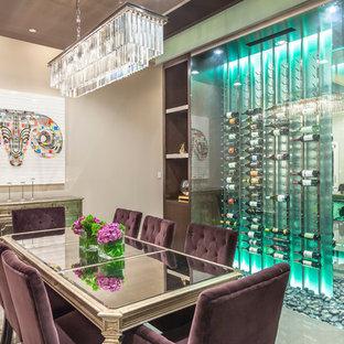 Medium sized contemporary wine cellar in Las Vegas with storage racks, porcelain flooring and grey floors.