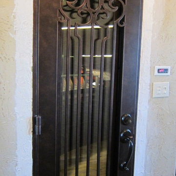 Venetian View Wrought Iron Door with Operable Glass-Custom Wine Cellar Door-Texa