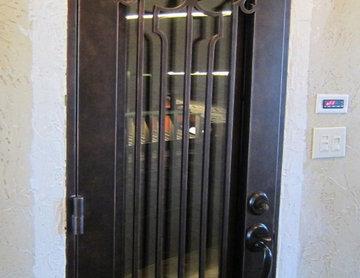 Venetian View Wrought Iron Door with Operable Glass-Custom Wine Cellar Door-Texa