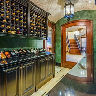 Wine Cellar   Mediterranean Multicolored Floor Wine Cellar Idea In Los  Angeles With Storage Racks