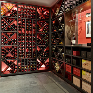 Photo of a contemporary wine cellar in London.
