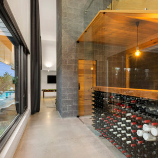 Design ideas for a contemporary wine cellar in Melbourne.