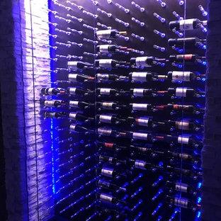 Cette photo montre une petite cave à vin tendance.
