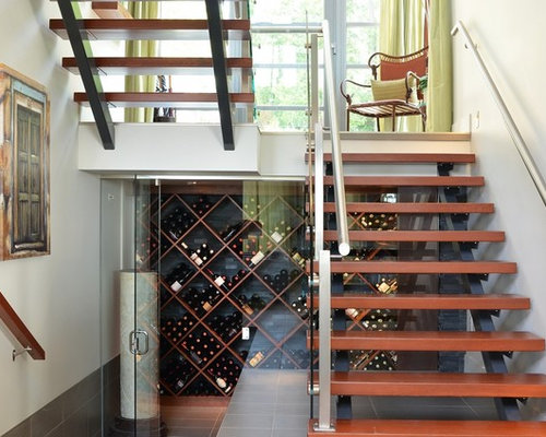 trendy wine cellar photo in vancouver with diamond bins