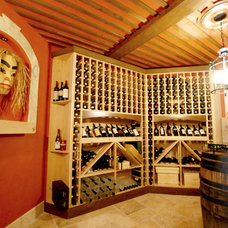 Transitional Wine Cellar by Richmond Custom Homes